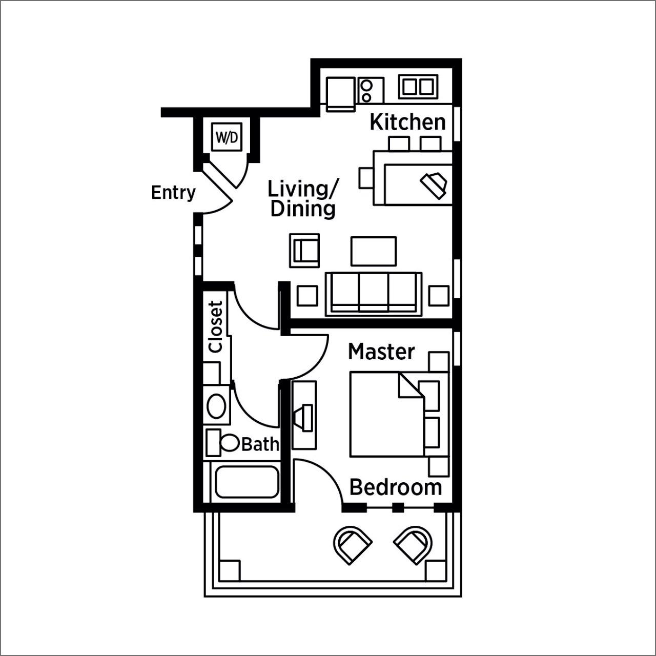 Bent Creek 1-bedroom floor plan